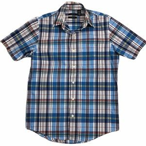 VAN HEUSEN Blue Red & Yellow Plaid Classic Fit